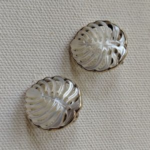 Carved shell earrings sterling silver